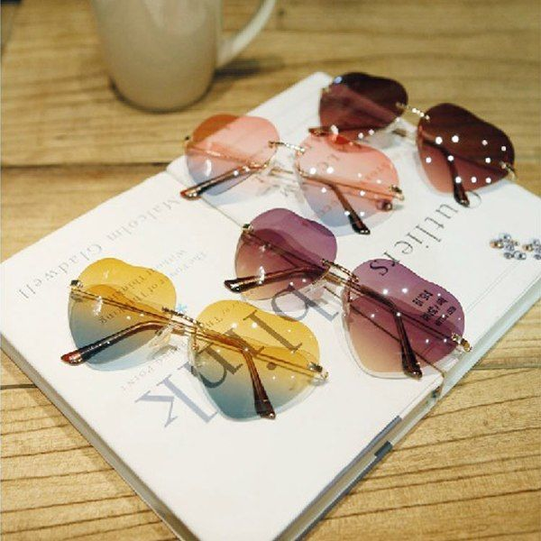 Retro Vintage Fashion Lolita Heart Shaped Aviator Metal Frame Women Sunglasses | eBay
