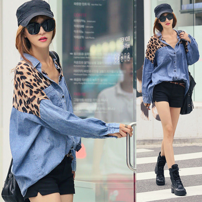 2014 spring shirt female shirt leopard print loose paragraph patchwork denim long sleeve shirt-inDenim Clothings from Apparel & Accessories on Aliexpress.com