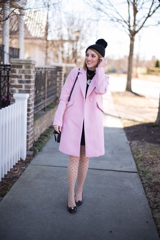 something delightful blogger coat skirt tights hat shoes bag jewels pink coat beanie winter outfits
