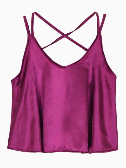 Cross Strappy Back Cami Top in Purple   Choies