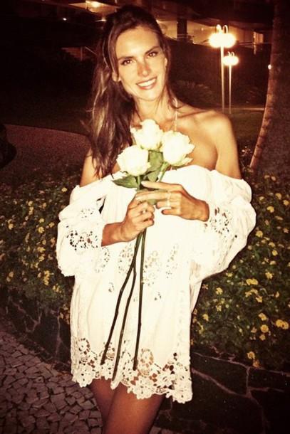 dress boho white dress lace dress alessandra ambrosio summer outfits