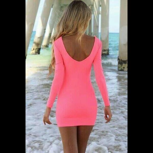 pink dress neon pink dress open back open back dresses blonde hair