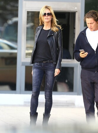 jeans heidi klum streetstyle fall outfits jacket boots shoes
