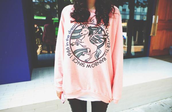 sweater pink unicorn pink sweater pastel pink rainbow cute green light pink perfect sweet