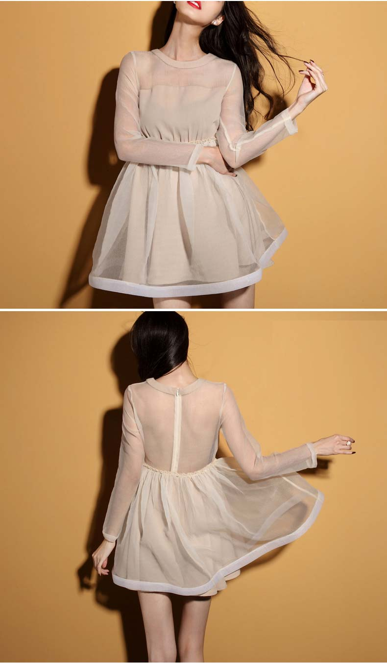 Vintage Apricot Opulent Mesh A-Line Dress [FXBI00524] - PersunMall.com