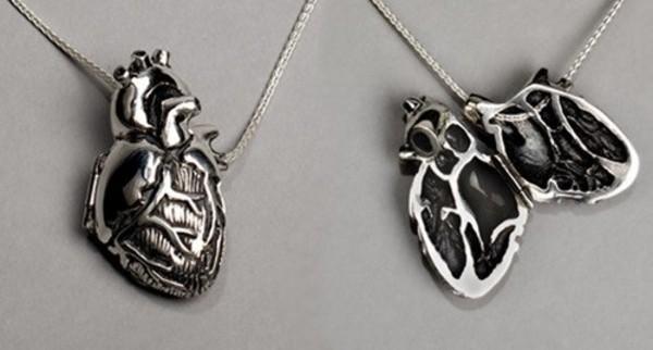 jewels pendant heart silver necklace locket jewelry jewelry chain realistic heart locket hipster heart jewelry science grey silver necklace creepy creepy cute anatomical heart anatomic heart beautiful goth heart jewelry