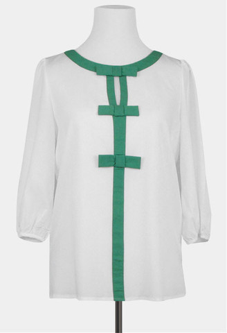 C.C. Lake | Lovely Semi-Sheer top with green bow detail