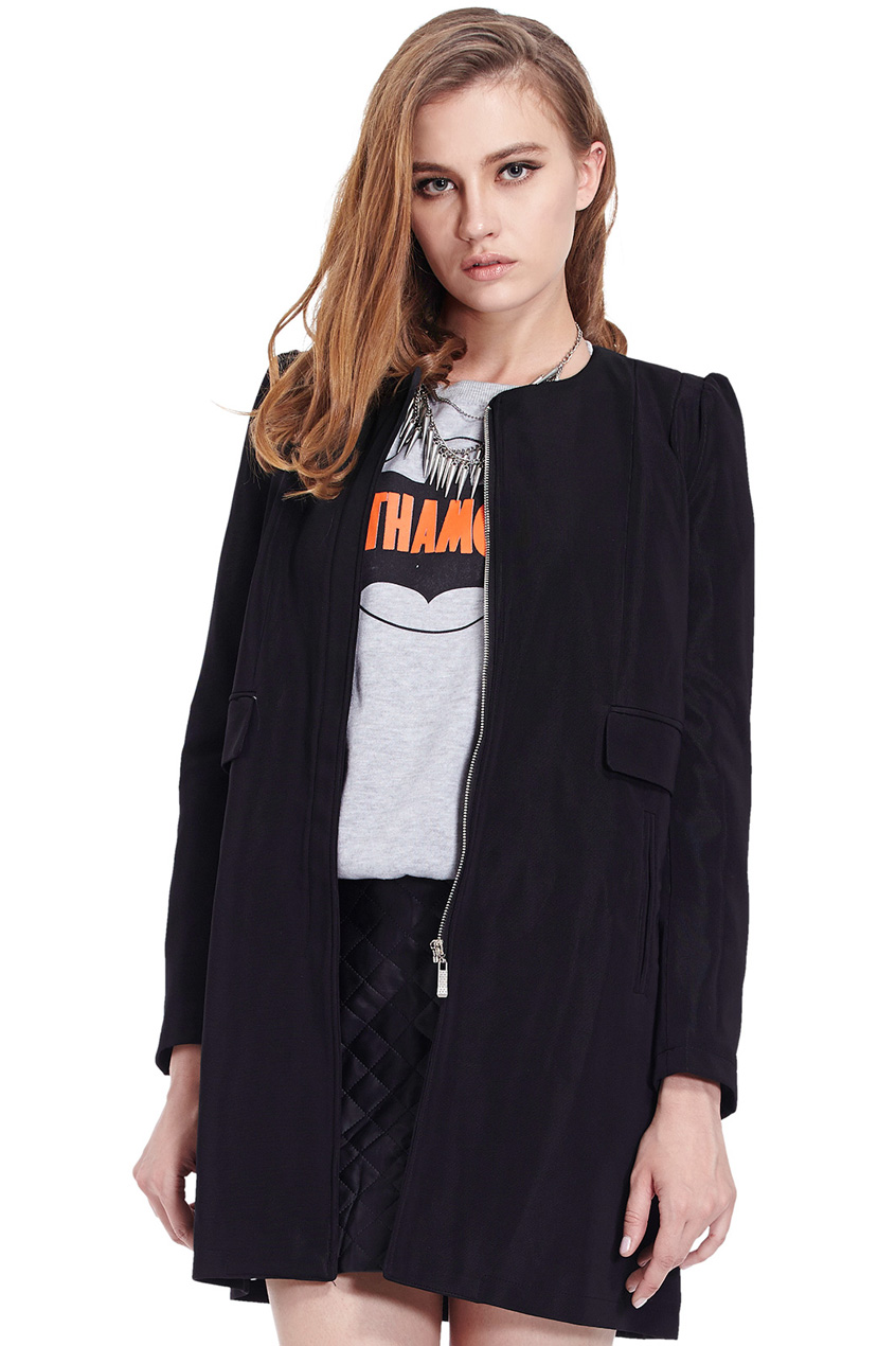 ROMWE | Zippered Slim Sheer Black Coat, The Latest Street Fashion