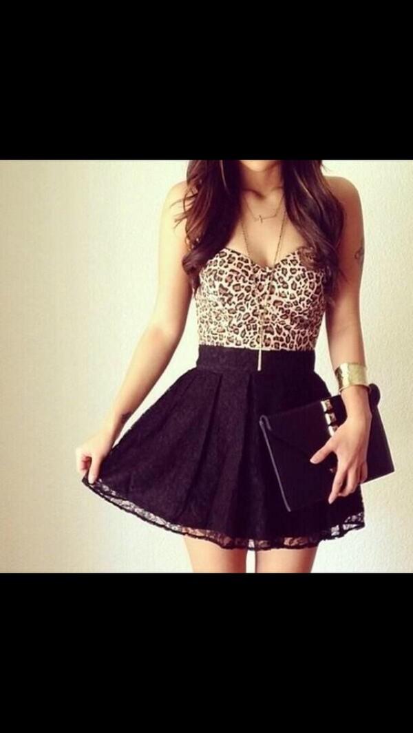 dress black lace leopard print blouse skirt leopard print leopard print skater skirt