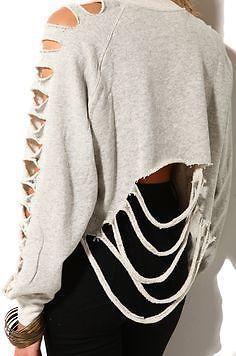 The ragged priest Shredded Crop Sweatshirt, grey, size S | eBay
