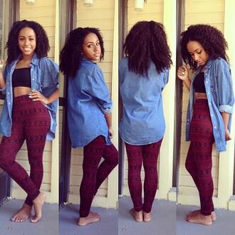 pants leggings printed leggings black leggings red thigh highs blouse jacket crop tops crop tank black blue light blue