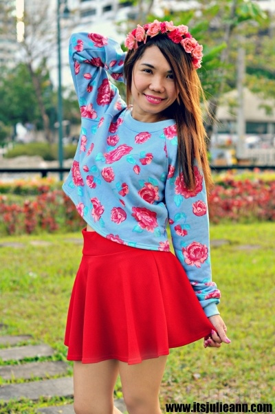 Fancy Flower Print Long-sleeved Pullover [FOBK0092] - PersunMall.com