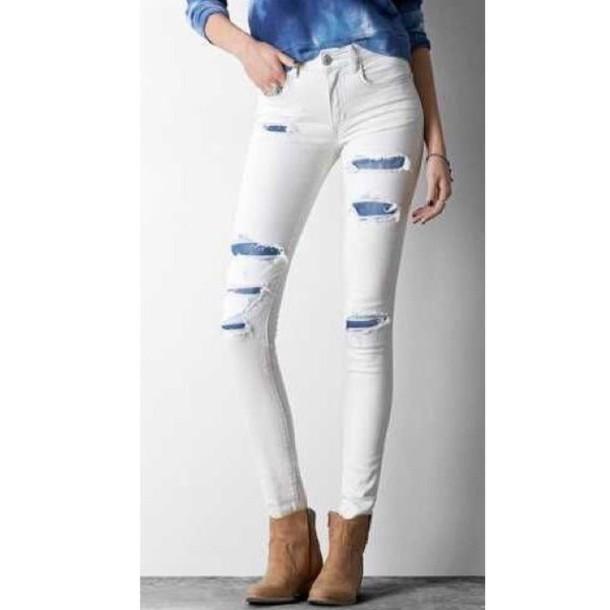 jeans pants ripped style skinny nice sleek ootd blue high heels fashion