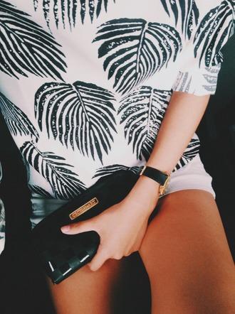 white dress floral dress clutch white shirt jewels tropical bag purse pattern print printed shirt plants white green palm tree print white top leaves beach tumblr shirt summer