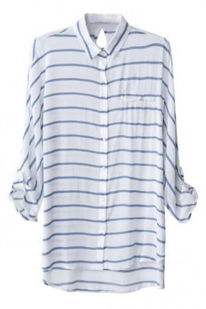 KCLOTH Striped Rolled-cuffs Asymmetric Shirt
