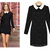 Black Lace Celebrity Long Sleeve White Collar Pencil Dress