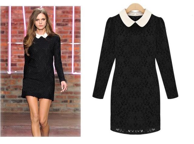 Black Lace Celebrity Long Sleeve White Collar Pencil Dress