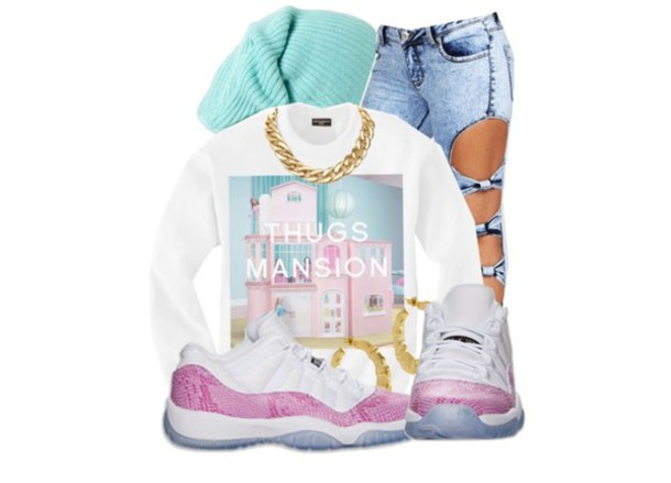 sweater thug mansion sweater jeans shoes
