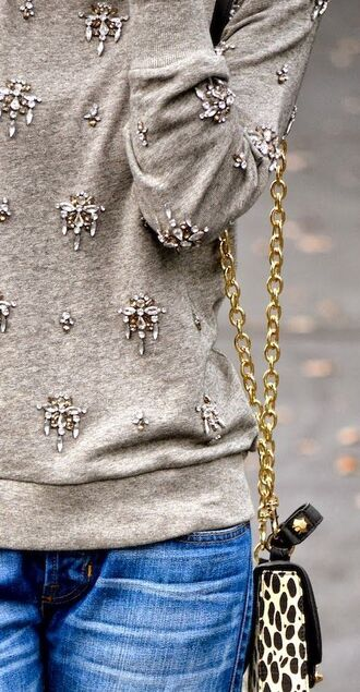 blouse sweater grey sweater grey comfy chandelier beaded embellished diamonds crystal quartz embroidered insects