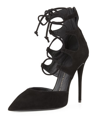 Giuseppe Zanotti Suede Point-Toe Lace-Up Pump, Nero