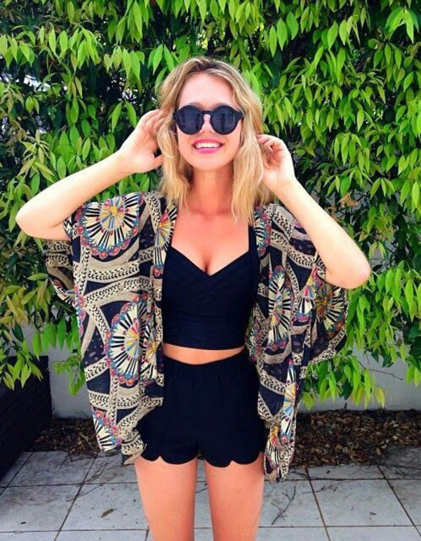 kimono ethnic crop tops black tank top lace shorts black shorts black sunglasses round sunglasses summer outfits coachella cardigan swimwear