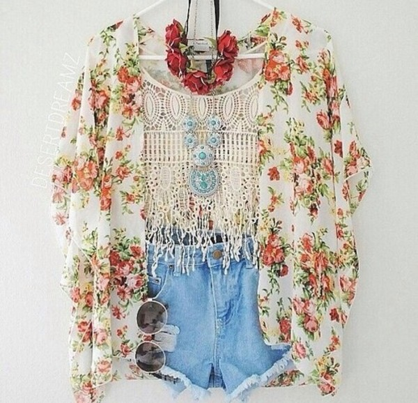 jacket floral flowers jeans necklace hair accessory shorts