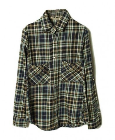 Boyfriend Checked Shirt with Studded Pockets
