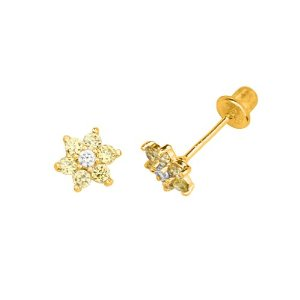 Amazon.com: 14K Yellow Gold Plated 6.3mm(H)x5.7mm(W) Flower November CZ Stud Earrings with Screw-back for Children & Women: The World Jewelry Center: Jewelry