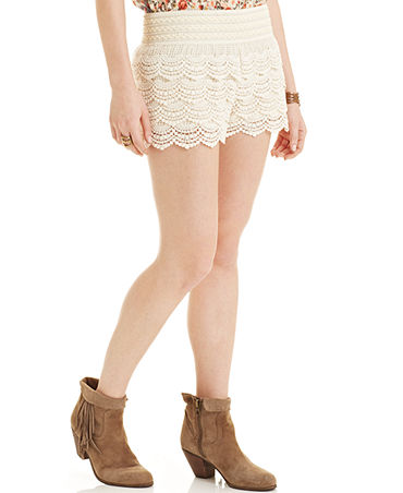 American Rag Tiered Crochet-Knit Shorts - Juniors Shorts - Macy's