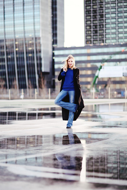 framboise fashion blogger jeans wide-leg pants long coat blue