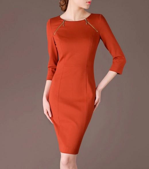 Orange Elegant Summer OL O-neck Slim Women Fashion Dress lml7009 - ott-123 - Global Online Shopping for Dresses