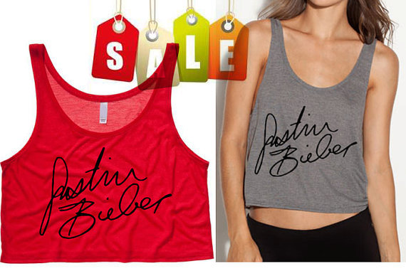 Justin Bieber Signature Cropped Tank Top Preorder by SoulClothes on Wanelo