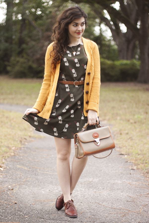 a walk in the park dress sweater belt jewels bag shoes