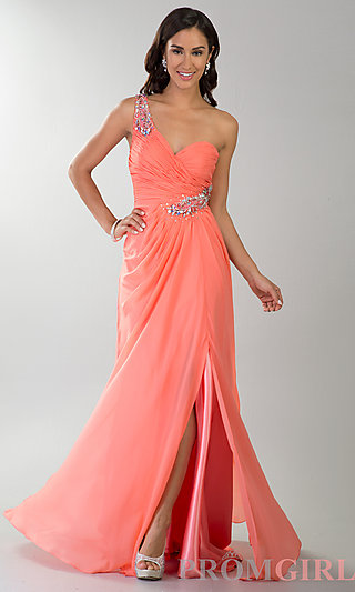 Prom Dresses, Celebrity Dresses, Sexy Evening Gowns - PromGirl: Floor Length One Shoulder Ruched Dress