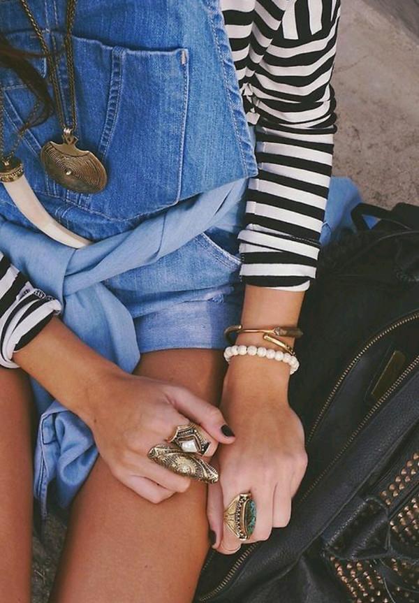 jewels necklace overalls stripes black white shorts ring bracelets bag jewelry denim shirt