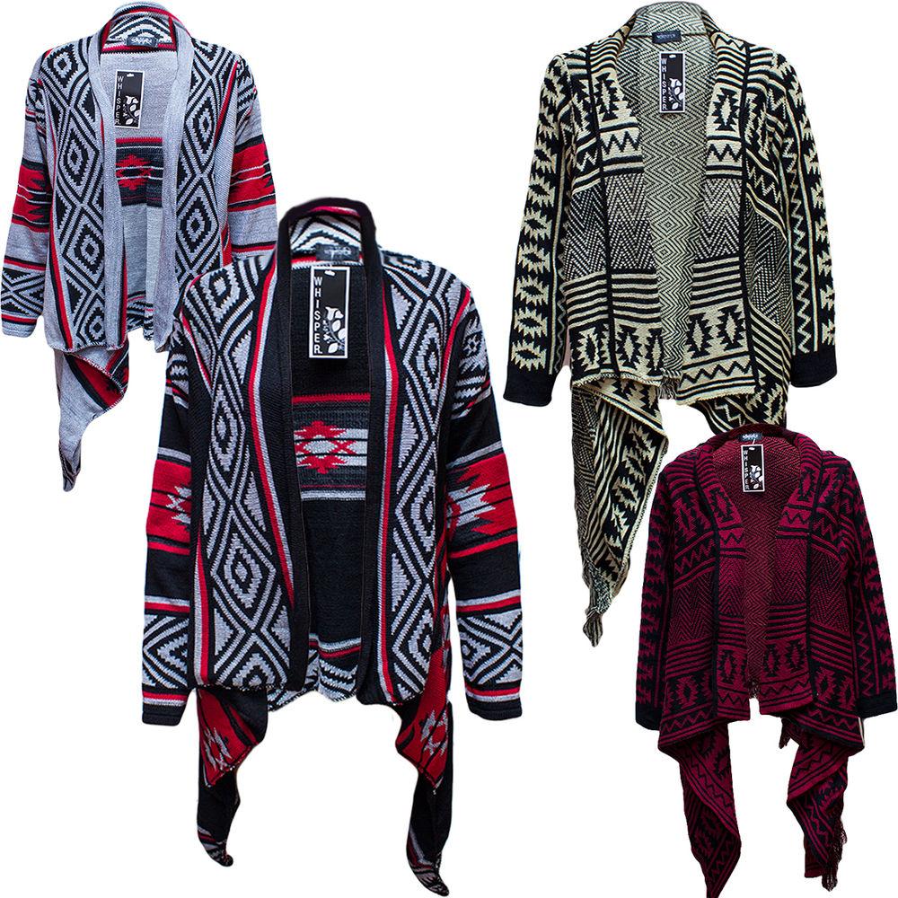 Thick Ladies Aztec Stripe Print Open Cardigan Tassel Waterfall Oversized Knitted | eBay