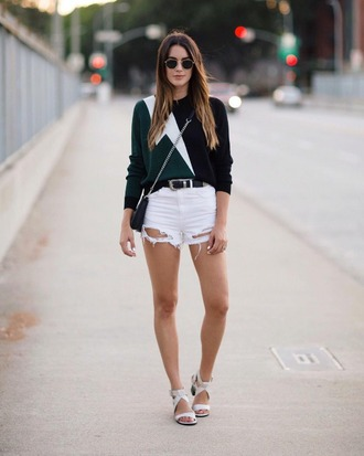 sweater topshop shorts bag shoes belt white ripped shorts white shorts white jean shorts white ripped denim white ripped denim shorts flash top green top blue and green black and green white sandals summer outfits spring outfits