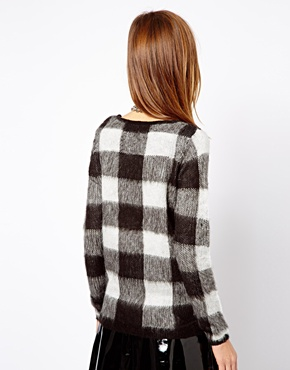 Warehouse   Warehouse Exclusive Brushed Check Sweater at ASOS