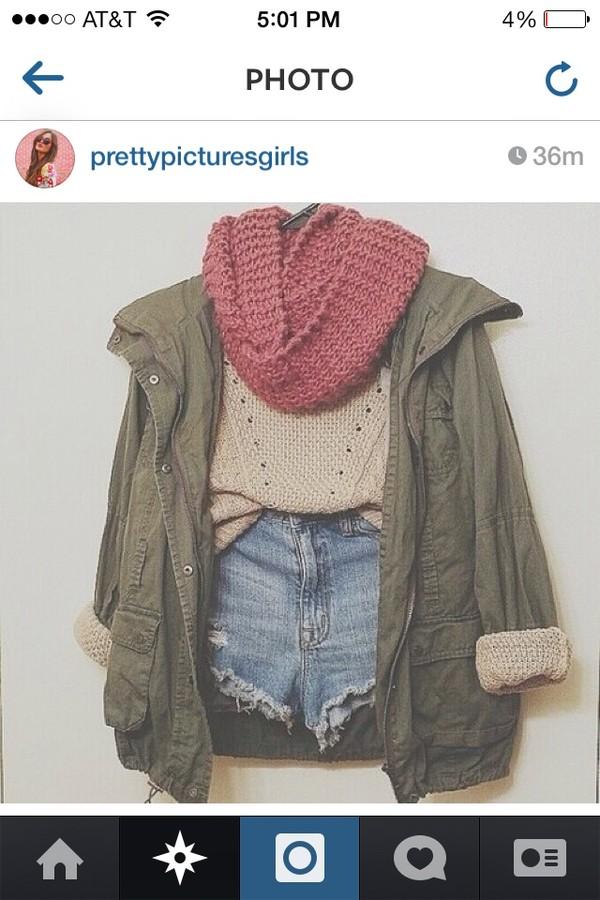 blouse jacket scarf shorts