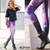 ROMWE | ROMWE Galaxy Print Purple Leggings, The Latest Street Fashion