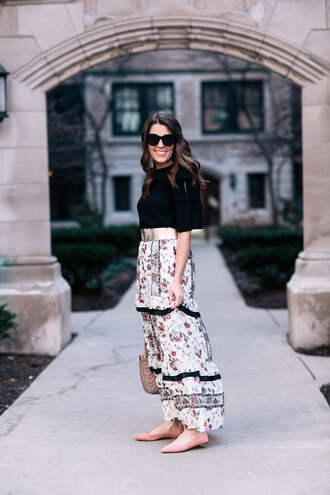 sequins and stripes blogger blouse skirt belt bag sunglasses maxi skirt floral skirt ballet flats