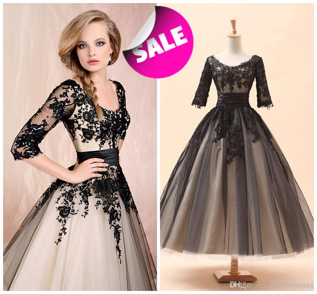Wholesale Cheap 2014 Free Shipping hot selling Sexy Scoop Neckline Half Sleeves Beaded Black LACE lady Evening Dress Party Gowns Prom Dresses 002, Free shipping, $105.0/Piece   DHgate Mobile