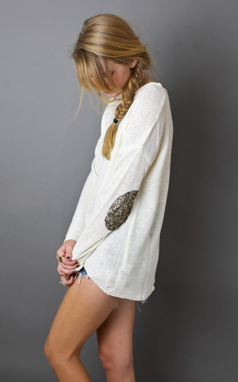 Sequin Elbow Patch Sweater on Wanelo