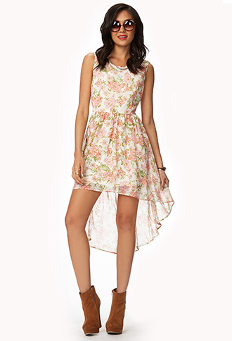 Floral Chiffon High-Low Dress   FOREVER21 - 2047542978
