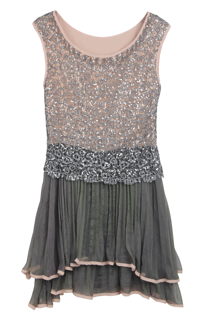 Grey Sleeveless Sequined Pleated Bead Dress - Sheinside.com