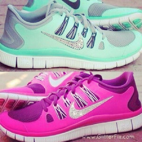 shoes light blue nike glitter shoes