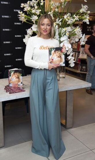 sweater wide-leg pants pants kate hudson spring outfits