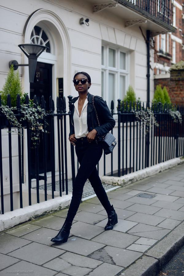 bisous natasha sunglasses jacket blouse jeans shoes bag