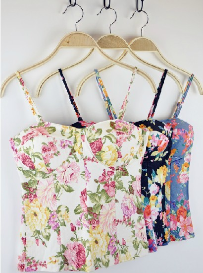 New 2013 Hot Selling Floral Print Vest  Sexy Crop Tops 2013 Women's Bra Top Vest Camis Straps Padded Top With Free Shipping-in Tank Tops from Apparel & Accessories on Aliexpress.com