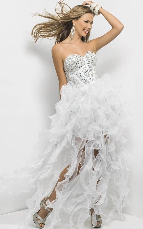 White Jewels Ruffled Short In Front Long In Back Dress By Blush [White Blush 9560] - $175.00 : Prom Dresses 2013, Homecoming Dresses 2013--PromSister